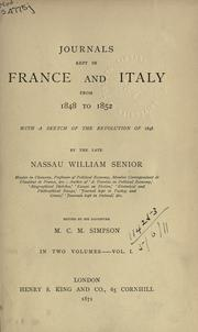 Cover of: Journals kept in France and Italy from 1848 to 1852