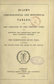 Cover of: Blair's chronological and historical tables