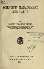 Scientific management and labor by Robert Franklin Hoxie