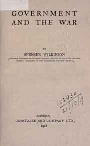 Cover of: Government and the war