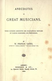 Cover of: Anecdotes of great musicians