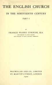The English Church in the nineteenth century by Francis Warre Cornish