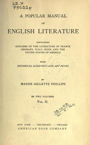 Cover of: A popular manual of English literature