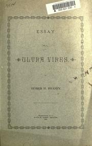 Cover of: Essay on ultra vires