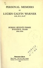 Cover of: Personal memoirs of Lucien Calvin Warner ..