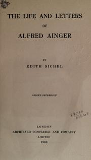 Cover of: The life and letters of Alfred Ainger