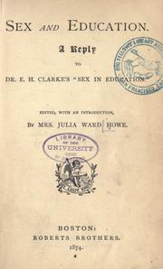"Cover of: Sex and education: A reply to Dr. E. H. Clarke's ""Sex in education."""