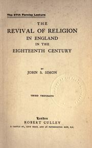 Cover of: The revival of religion in England in the eighteenth century