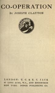 Cover of: Co-operation