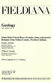 Cover of: Giant short-faced bear (Arctodus simus yukonensis) remains from Fulton County, northern Indiana