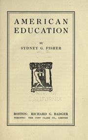 Cover of: American education
