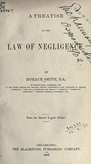 Cover of: A treatise on the law of negligence