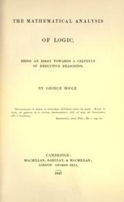 The mathematical analysis of logic (1847 edition) | Open Library