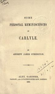 Cover of: Some personal reminiscences of Carlyle