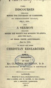 Cover of: Two discourses preached before the University of Cambridge
