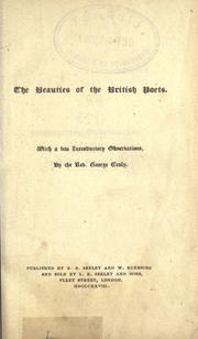 Cover of: The beauties of the British poets, with a frw introductory observations by George Croly