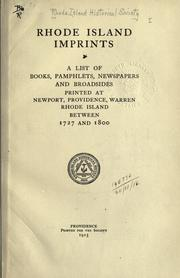 Cover of: Rhode Island imprints by Rhode Island Historical Society.
