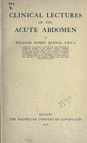 Cover of: Clinical lectures on the acute abdomen