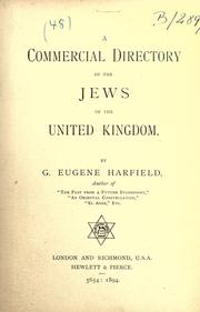 Cover of: Commercial Directory of the Jews of the United Kingdom | Eugene G. Harfield