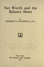 Cover of: Net worth and the balance sheet