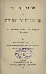 Cover of: The relation of ethics to religion