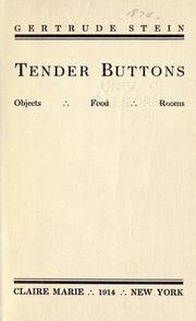 Cover of: Tender buttons by Gertrude Stein