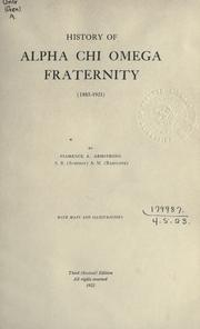 Cover of: History of Alpha Chi Omega Fraternity
