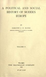 Cover of: A political and social history of modern Europe