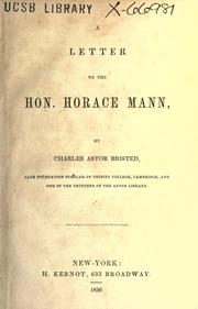 Cover of: A letter to the Hon. Horace Mann
