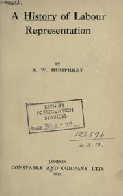 Cover of: A history of labour representation