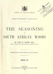 Cover of: The seasoning of South African woods