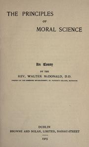 Cover of: The principles of moral science ..