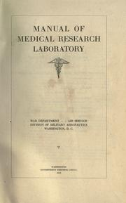 Cover of: Manual of Medical Research Laboratory