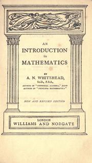Cover of: An introduction to mathematics, by A. N. Whitehead
