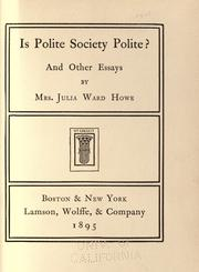 Cover of: Is polite society polite?: And other essays