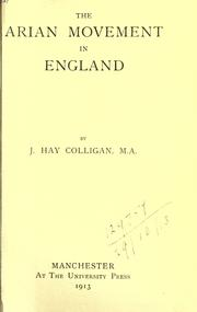 Cover of: The Arian movement in England