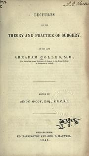 Cover of: Lectures on the theory and practice of surgery