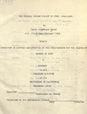 Cover of: The federal Indian policy in Utah, 1848-1865