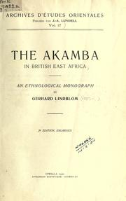 Cover of: The Akamba in British East Africa; an ethnological monograph