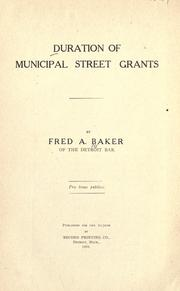 Cover of: Duration of municipal street grants