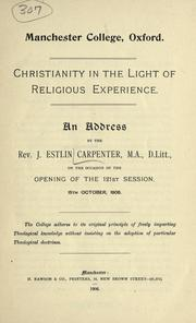 Cover of: Christianity in the light of religious experience