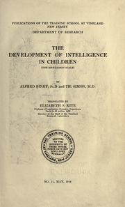 Cover of: The Development of Intelligence in Children: (the Binet-Simon scale)