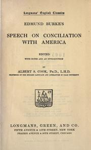 Cover of: Edmund Burke's speech on conciliation with America