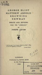 Cover of: George Eliot, Matthew Arnold, Browning, Newman: essays and reviews from the Athenaeum.