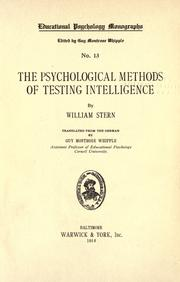 Cover of: The psychological methods of testing intelligence