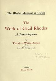 Cover of: The Rhodes memorial at Oxford