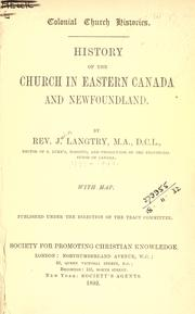 Cover of: History of the Church in eastern Canada and Newfoundland
