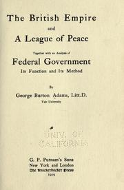 Cover of: The British empire and a league of peace