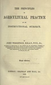 Cover of: The principles of agricultural practice as an instructional subject