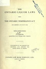 Cover of: The Ontario liquor laws | J. C. McRuer